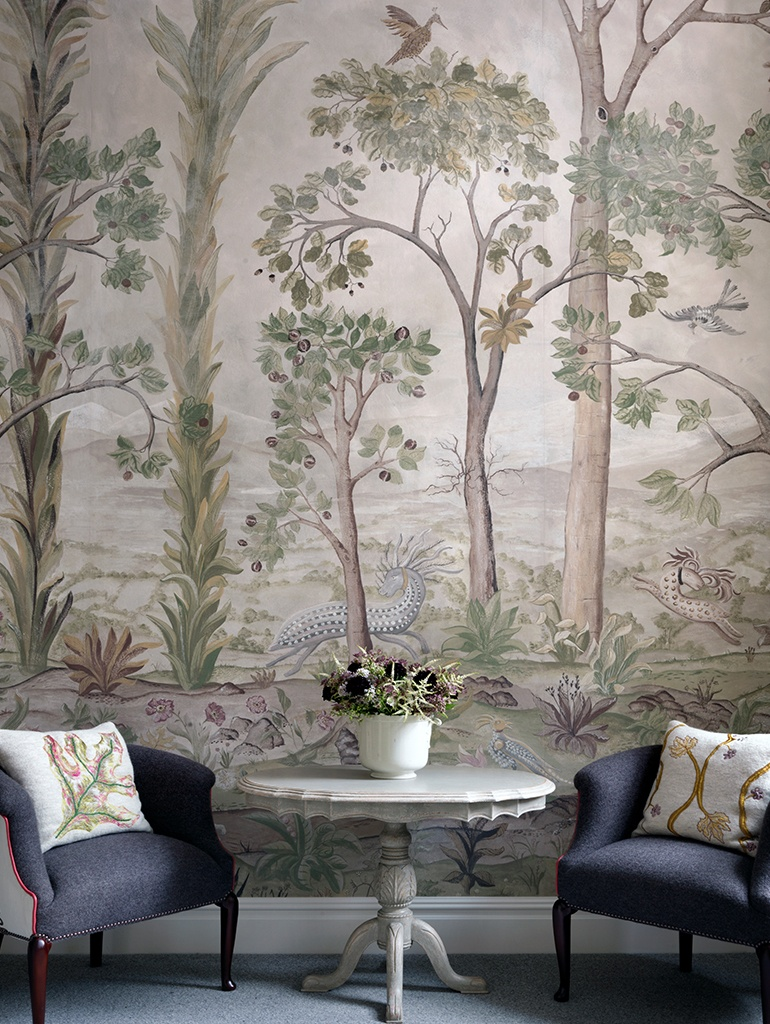 Left - Bespoke applique headboard at The Whitby Hotel. Right - 'Mythical Creatures' wallpaper by Kit Kemp and Melissa White