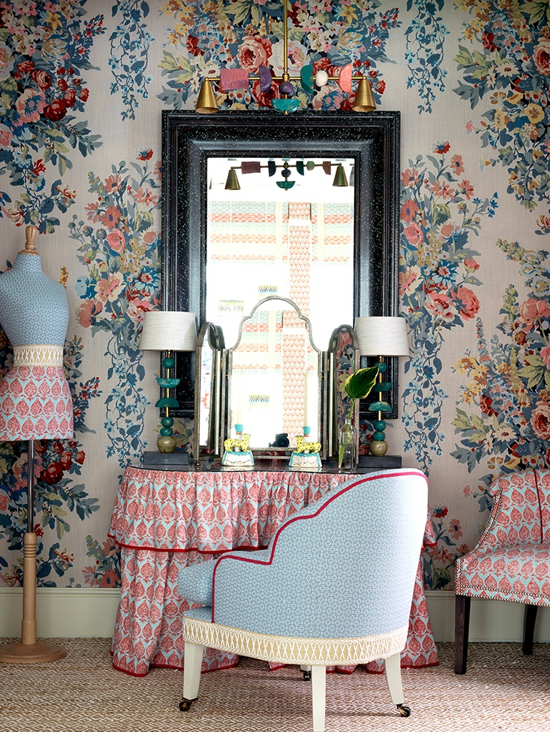 Offset against this backdrop are a selection of upholstered sofas, chairs and tables, many of which are Kit's designs, and can be purchased through Shop ...